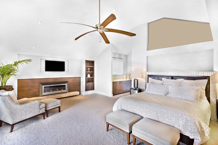 bedroom-ceiling-fan-bed-ottomans-TV