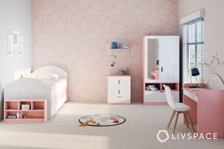 Bedroom-children-play-area-drawers-study-table-pink-wallpaper