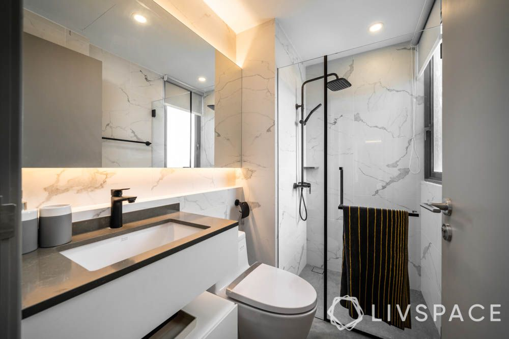 HDB bathroom-lighting_soft cove lighting-marble tile-black shower head