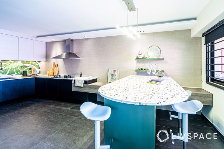 HDB-kitchen-design-terrazzo-top-cooker-hob-hood-display-shelves-chopping-boards