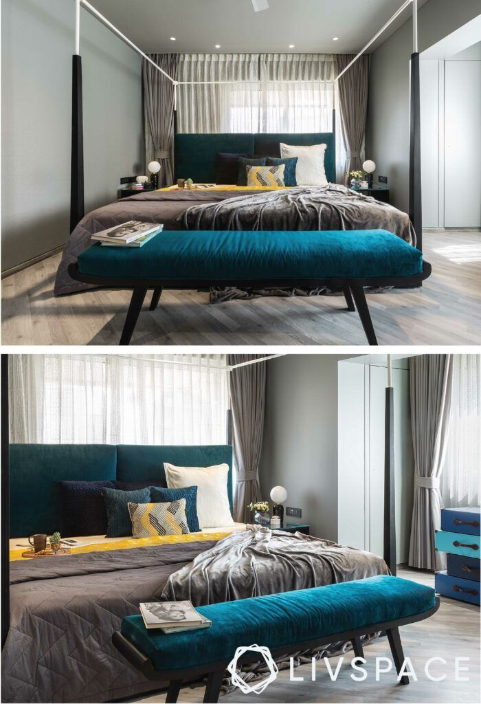 bedroom-design-teal-seating-chest-of-drawers