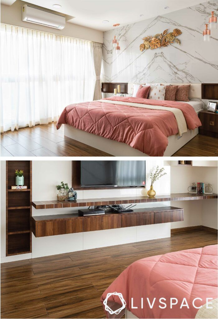 marble-wall-bedroom-wall-mounted TV unit