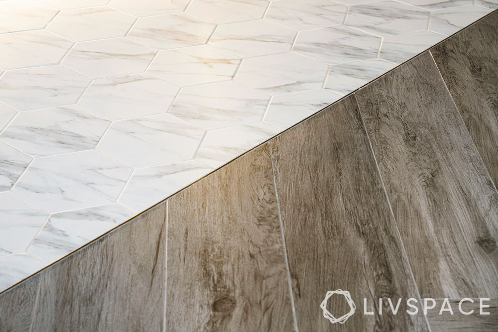 Floor-herringbone tiles-hexagonal tiles