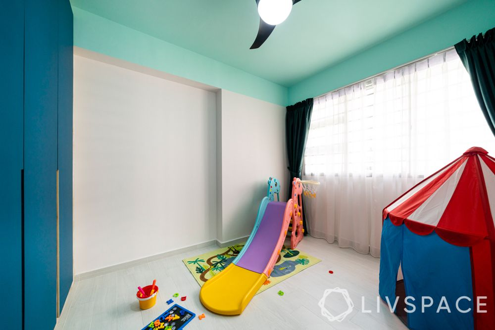 Kids room-blue laminate cupboard-slide-blue ceiling-tent