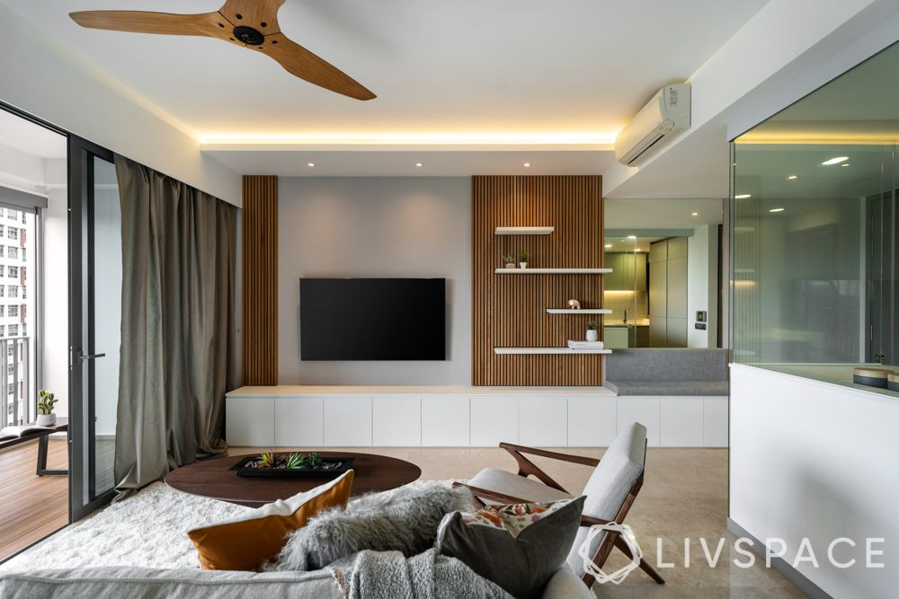 Interior designer singapore-living room design-wooden panel-profile lighting-display shelves