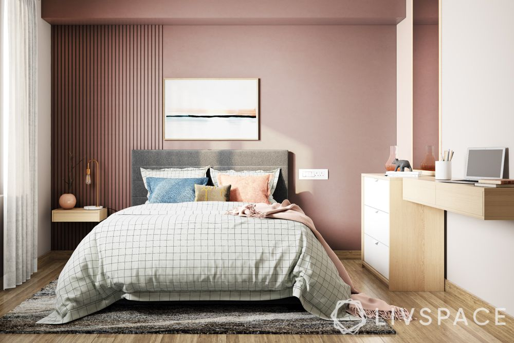 Livspace-bedroom-pink walls-study unit-bed designs