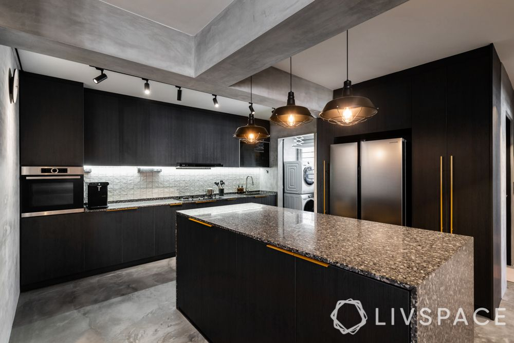 kitchen with island-granite countertop-storage