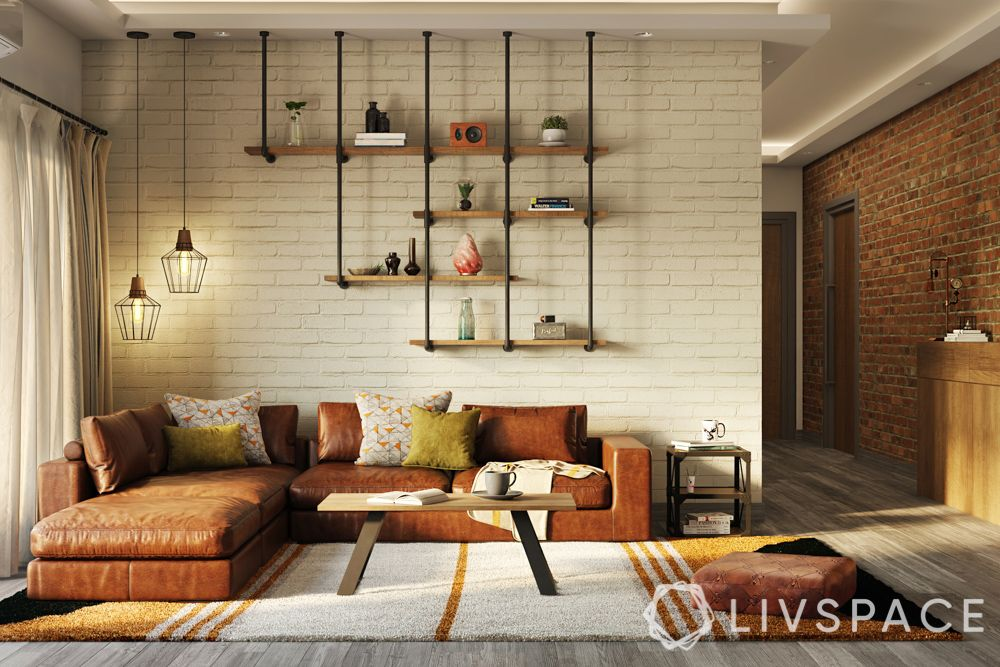 living room design-industrial-leather couch-brick wall
