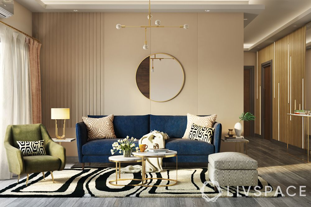 living room design-contemporary-blue couch-mirror