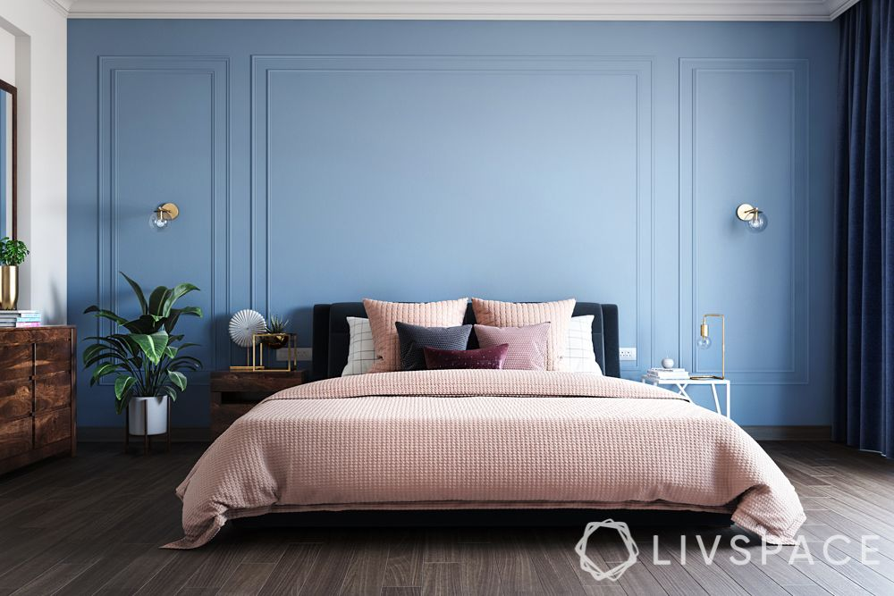 bedroom-designing-blue-wall-minimal-bedroom