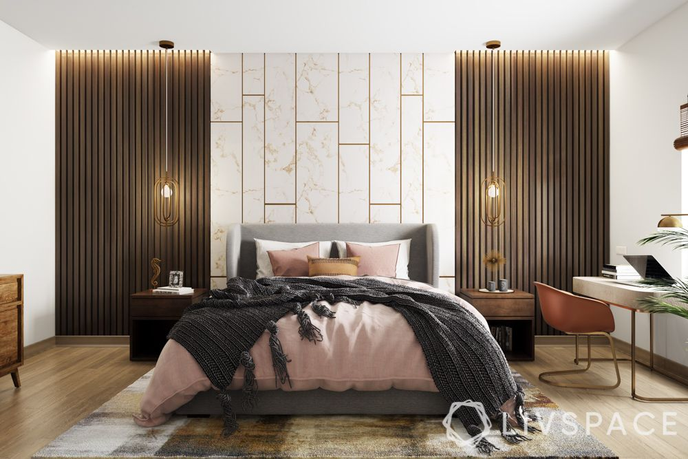 room decoration-Fabrics-pink bedding-lights-wall treatment-bed designs