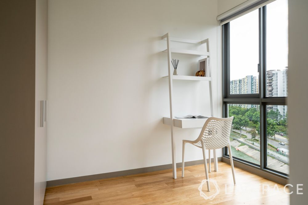 renovation cost singapore-white ladder unit-wooden flooring