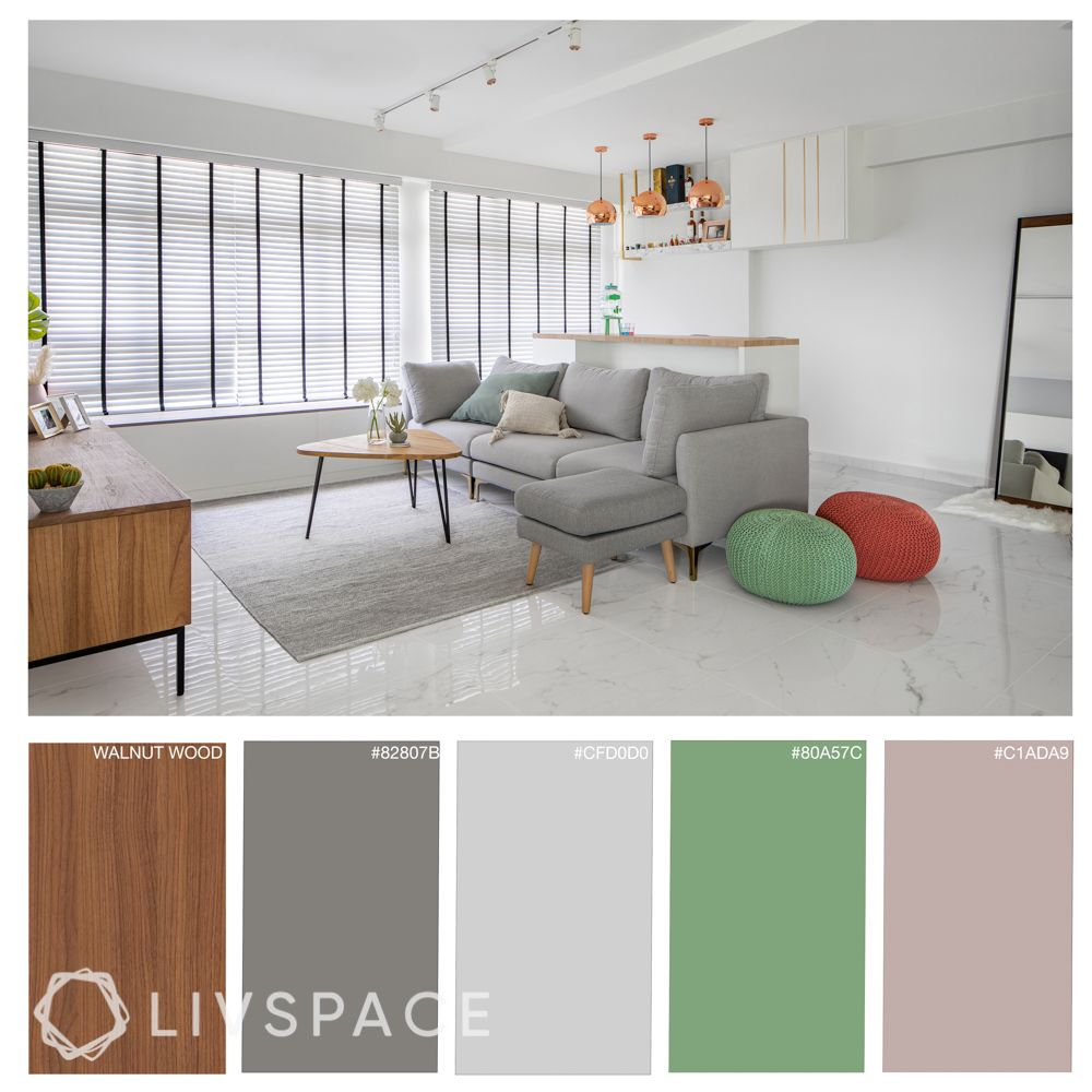 room colour ideas-living room colours-wooden finishes-grey sofa-rose gold pendant lights