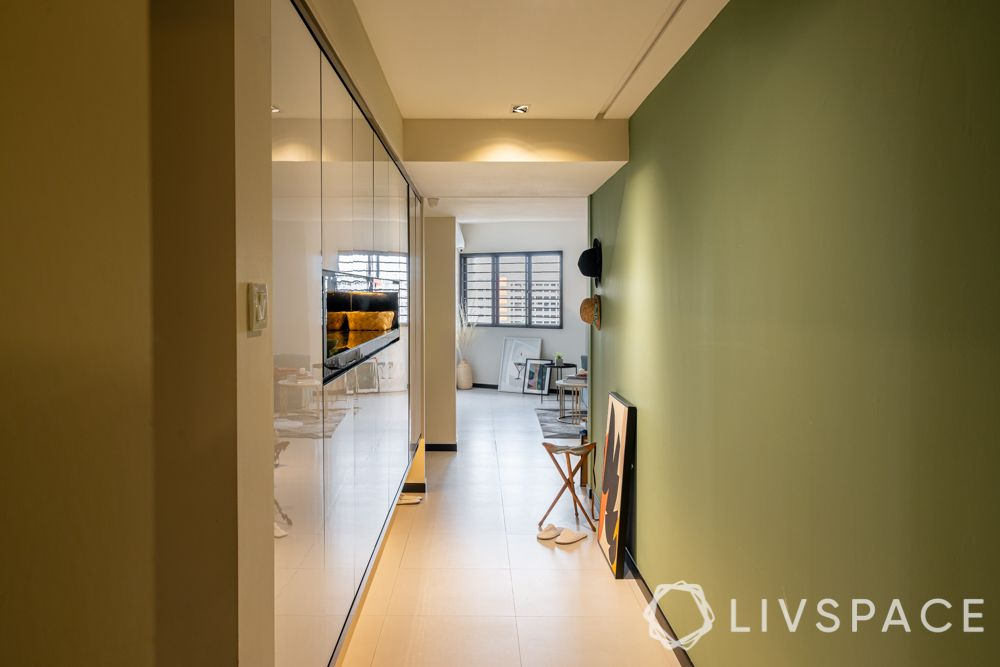 green wall-storage cabinets-foyer