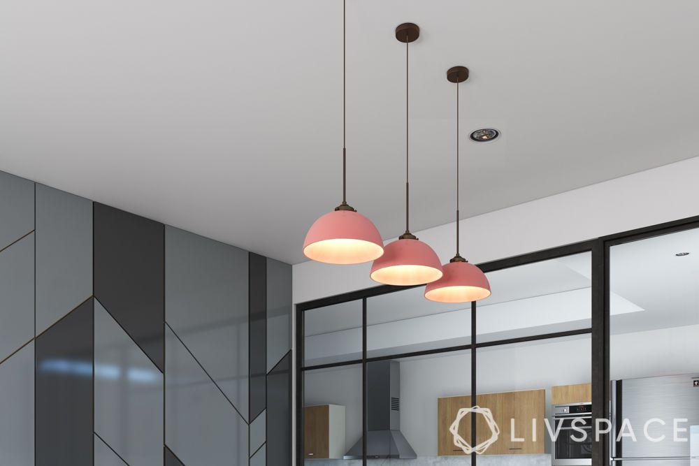 types of lighting-pendant lights-dining table-pink lights