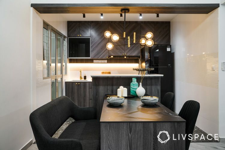 dining table-kitchen island-chandelier