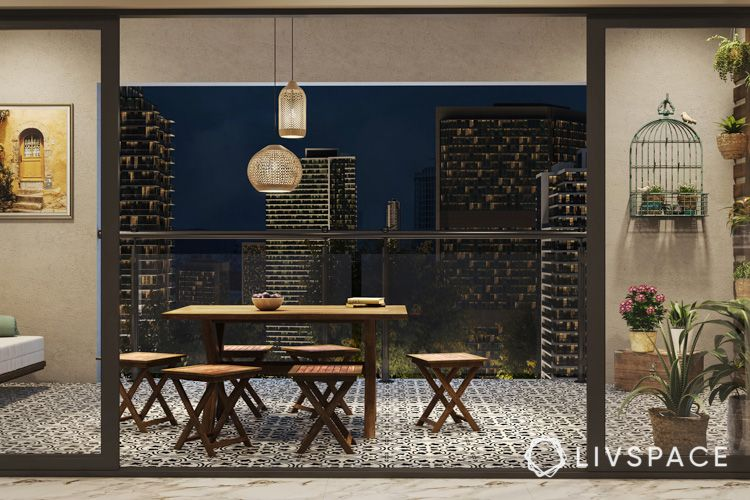 dining table-balcony-pendant lights-wooden furniture