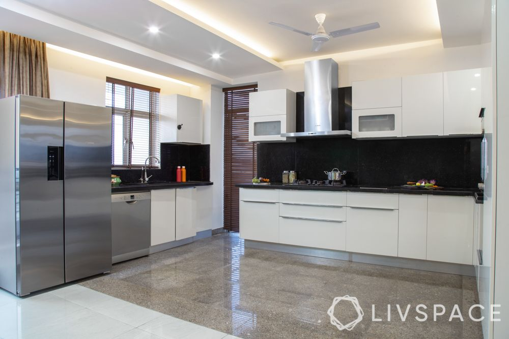 false ceiling-gypsum material-L-shaped kitchen