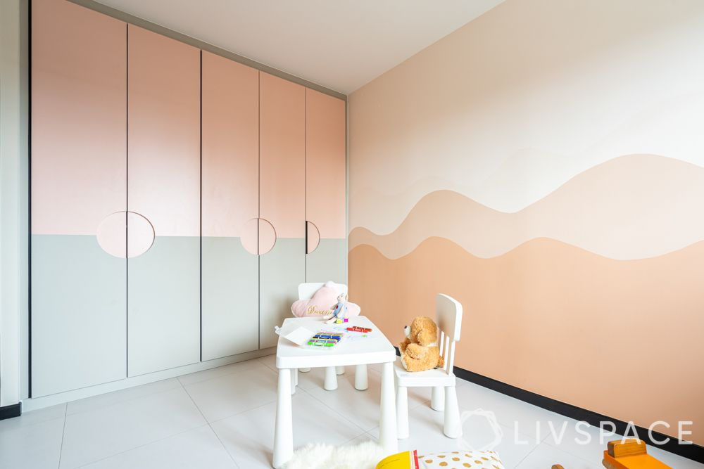 Girls room ideas-table chair-wardrobe-pink walls